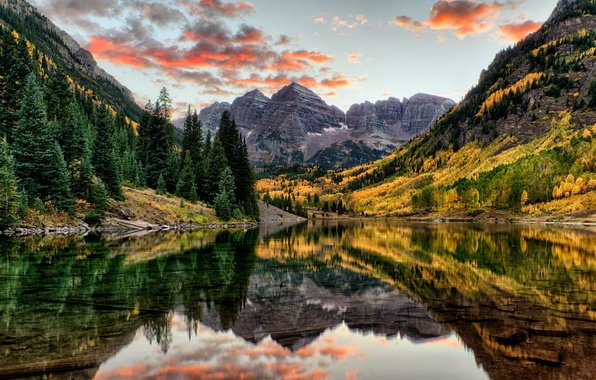 Картинка осень, лес, вода, деревья, горы, озеро, отражение, скалы, США, Colorado, Maroon Bells