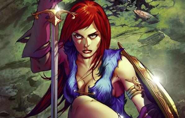 Картинка фон, женщина, меч, воин, комикс, Red Sonja, Рыжая Соня