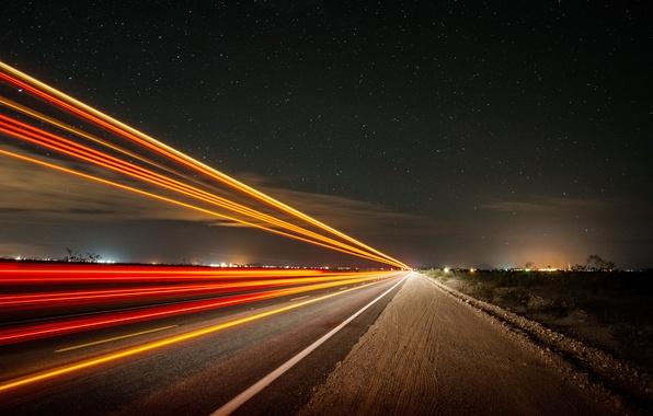 Картинка дорога, небо, звезды, свет, ночь, выдержка