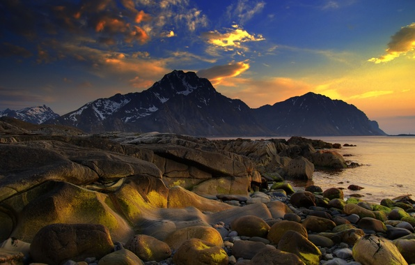 Картинка море, небо, вода, облака, снег, пейзаж, закат, горы, природа, камни, океан, краски, берег, colors, sky, …