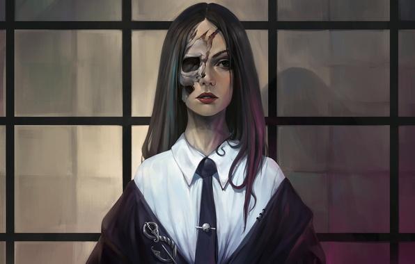 Картинка взгляд, девушка, лицо, смерть, фантастика, череп, труп, art