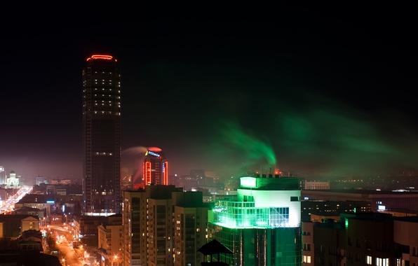 Картинка небо, ночь, city, город, огни, дом, фото, улица, здания, высота, небоскреб, свечение, крыши, подсветка, мегаполис, …
