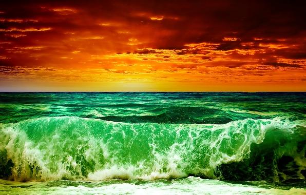 Картинка море, волны, небо, облака, закат, шторм, рендеринг, обработка