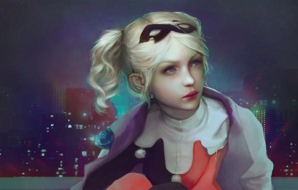 Картинка взгляд, город, вечер, окно, арт, блондинка, нарисованная девушка