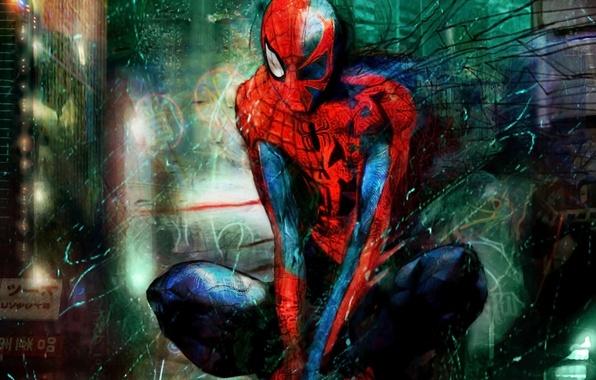 Картинка надписи, человек-паук, костюм, иероглифы, spider man, супер герой