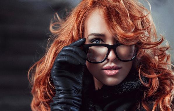 Картинка портрет, очки, рыжеволосая, Lily, Георгий Чернядьев