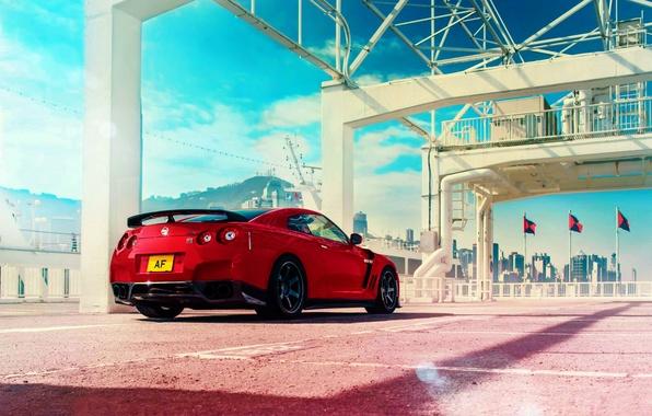 Картинка Japan, Nissan, Red, GT-R, Car, Sky, R35, Sport, Rear