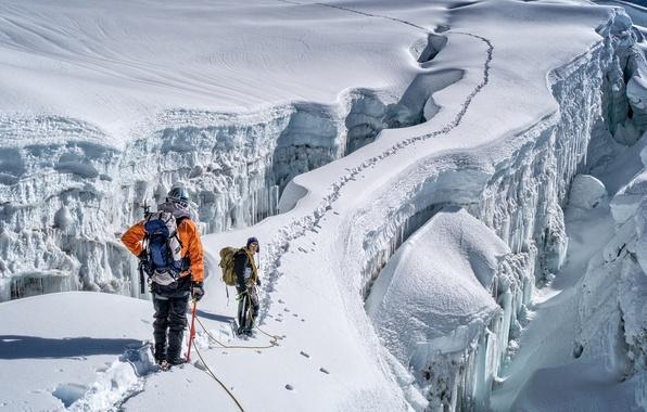 Картинка лед, зима, солнце, снег, горы, скалы, тропа, тени, экстремальный спорт, альпинистов