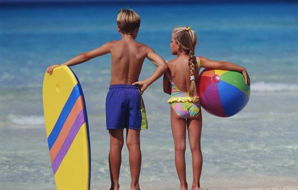 Картинка море, дети, фон, настроение, отдых, обои, мальчик, девочка
