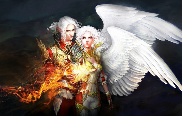 Картинка девушка, огонь, магия, крылья, арт, парень, anndr, Kamaels