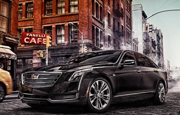 Картинка город, улица, Cadillac, седан, кадиллак, CT6