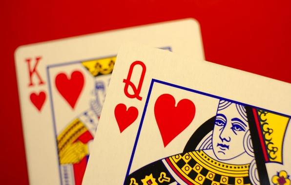 Картинка карты, макро, дама, король, черви
