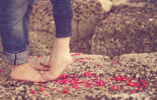 Картинка любовь, ноги, лепестки, пара, love, happy, people, romantic, couple