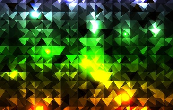 Картинка абстракция, кубики, треугольники, разноцветные