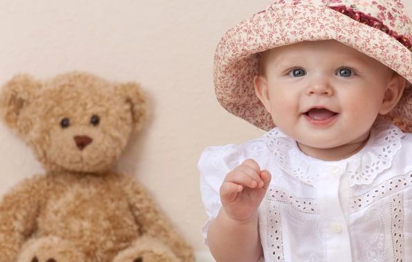 Картинка дети, улыбка, ребенок, шляпа, девочка, голубые глаза, happy, hat, smile, blue eyes, child, Красивая, teddy …