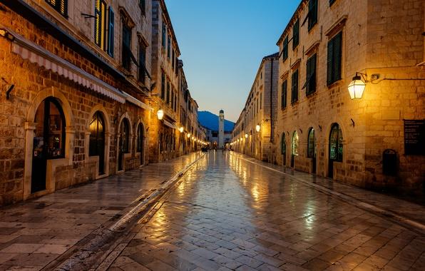 Картинка sunrise, Хорватия, Croatia, Дубровник, Dubrovnik, Stradun
