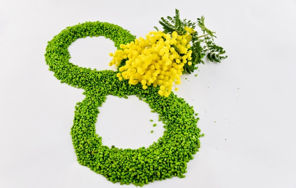 Картинка цветы, желтый, зеленый, 8 марта, женский день, мимозы