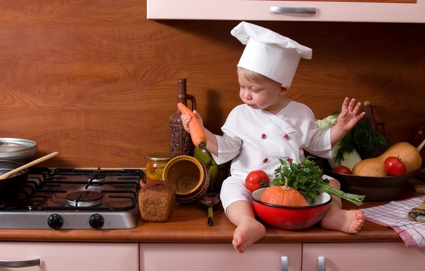 Картинка хлеб, кухня, плита, тыква, повар, овощи, помидор, морковь, ребёнок, петрушка, bread, carrot, pumpkin, cook, Child, …