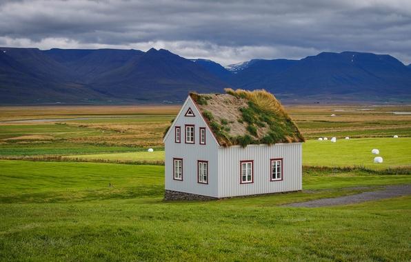 Картинка крыша, трава, горы, природа, дом, Iceland, sod-house