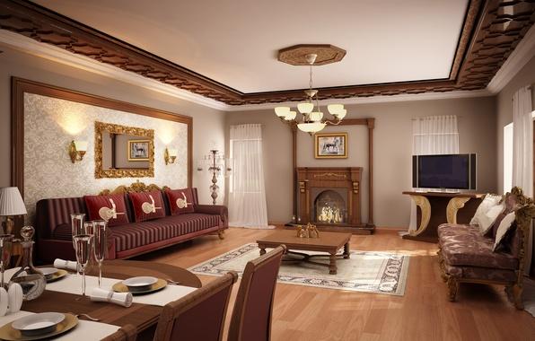 Картинка дизайн, стиль, стол, комната, диван, мебель, интерьер, картина, зеркало, камин