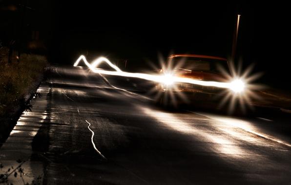 Картинка дорога, машина, ночь, lights, фары, cars, разное, night, путишествие