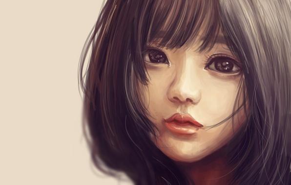 Картинка девушка, стрижка, арт, азиатка, живопись, глаза. взгляд