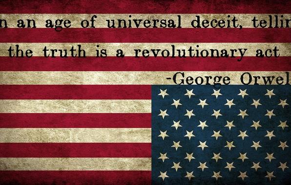 Картинка stars, america, usa, flag, george orwell, upside down