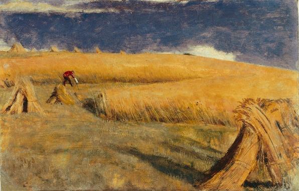 Картинка поле, пейзаж, холмы, картина, жатва, Уильям Холман Хант, НИВА В ЮЭЛЛЕ
