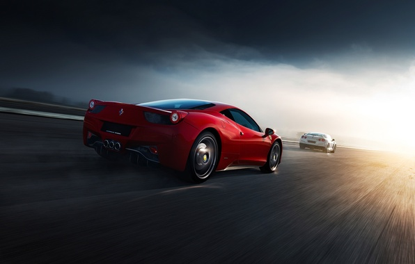 Картинка Ferrari, Nissan, Red, GT-R, 458, White, Supercars, Norway, R35, Italia, Road, Rear