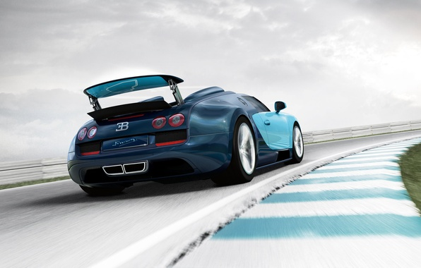 Картинка скорость, трасса, родстер, автомобиль, Bugatti Veyron Grand Sport Vitesse