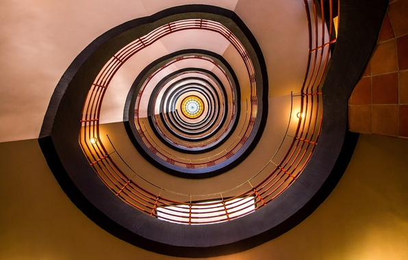 Картинка lights, spiral, circle, stairs, stained glass, stairwell
