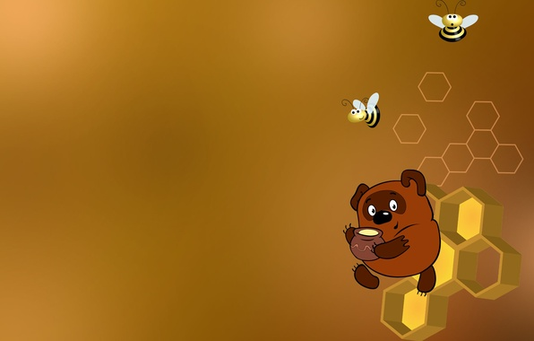 Картинка соты, пчелы, Винни-Пух, мёд