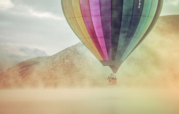 Картинка mountains, lake, fog, balloon, extreme sport
