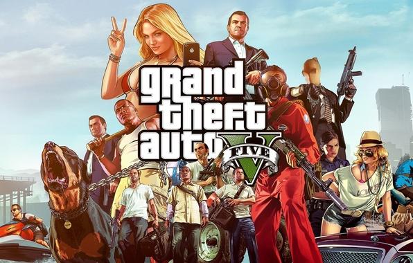 Картинка оружие, пес, цепь, бандиты, wallpaper, Michael, мафия, бита, Grand Theft Auto V, GTA 5, Rockstar …