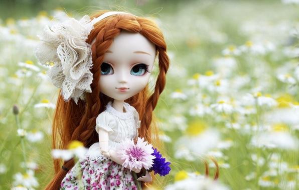 Картинка цветы, природа, игрушка, кукла, платье, рыжая, бант, косы