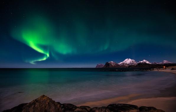 Картинка sky, coast, night, snow, stars, arctic, aurora borealis