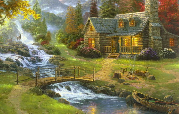 Картинка лес, природа, туман, дом, река, лодка, рисунок, гитара, картина, арт, рисунки, картины, живопись, олени, мостик, …