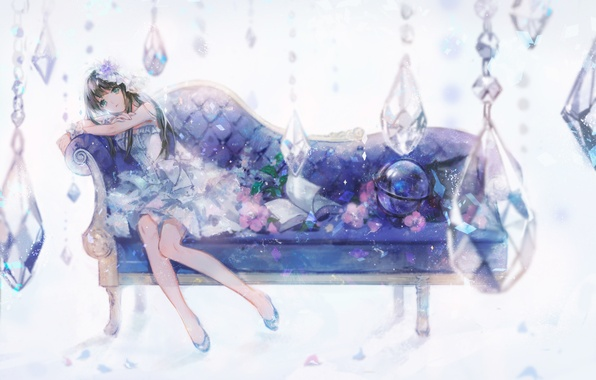 Картинка девушка, цветы, диван, аниме, арт, книга, idolmaster, shibuya rin, nosaki