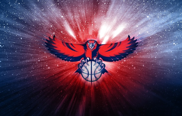 Картинка Мяч, Баскетбол, Фон, Ястребы, Atlanta Hawks, NBA. Логотип