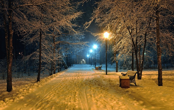 Картинка дорога, пейзаж, скамейка, ночь, природа, lights, огни, парк, настроение, фонарь, сиденья, скамейки, road, landscape, nature, ...