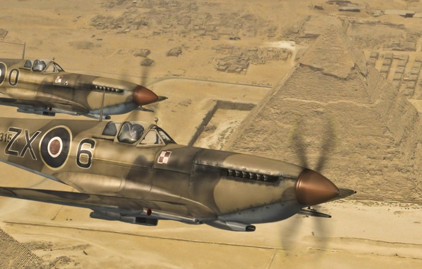 Картинка полет, самолет, пустыня, истребитель, арт, пара, Египет, английский, Spitfire, разведчик, перехватчик, Supermarine, WW2., над, спитфайр, …