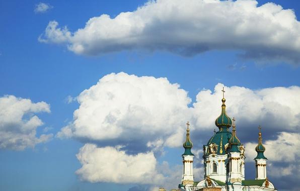 Картинка небо, облака, город, крест, купол, Киев, Андреевская церковь