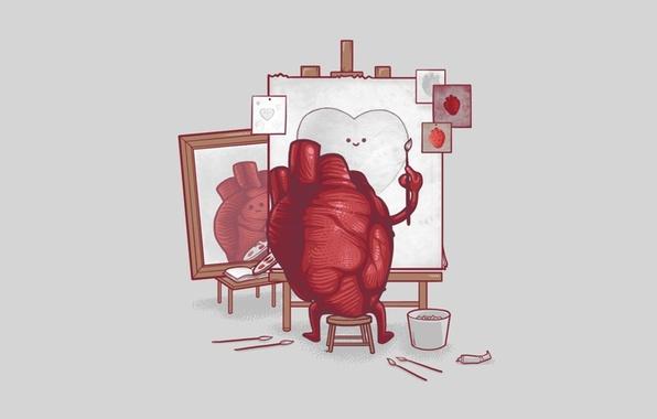 Картинка краски, сердце, художник, кисть, холст