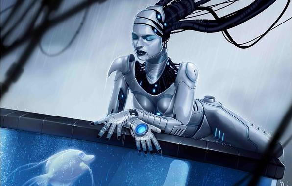 Картинка вода, девушка, дождь, провода, робот, аквариум, рыбка, рыба, арт, андроид