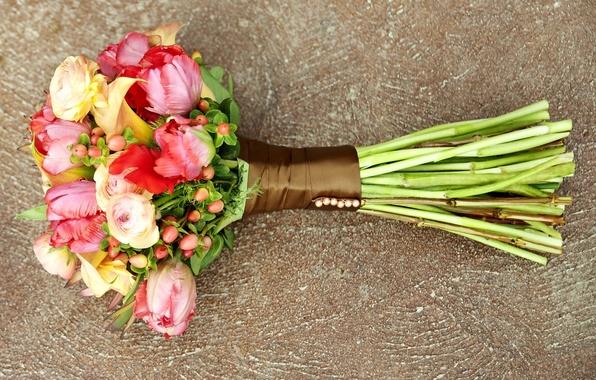 Картинка цветы, желтый, красный, зеленый, розовый, букет, красиво, разноцветие, ранункулюс