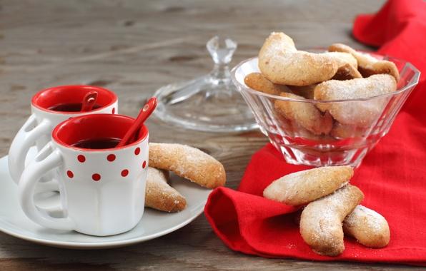 Картинка кофе, печенье, чашки, выпечка, ложки