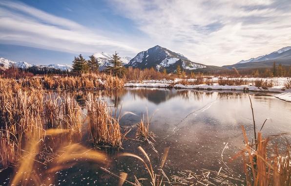 Картинка ice, Alberta, winter, mountain, lake, snow, canada, Banff, rocky mountains, vermillion