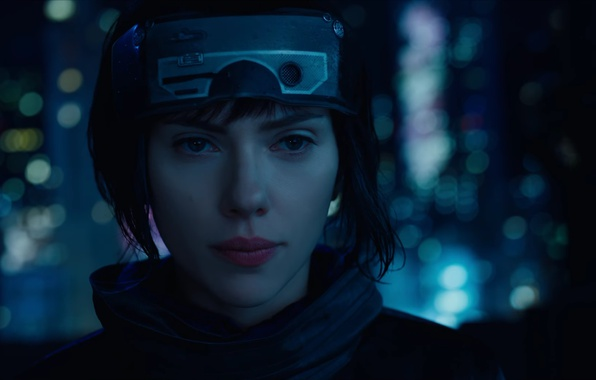 Картинка Scarlett Johansson, cinema, wallpaper, robot, green eyes, woman, anime, night, short hair, movie, Ghost in …