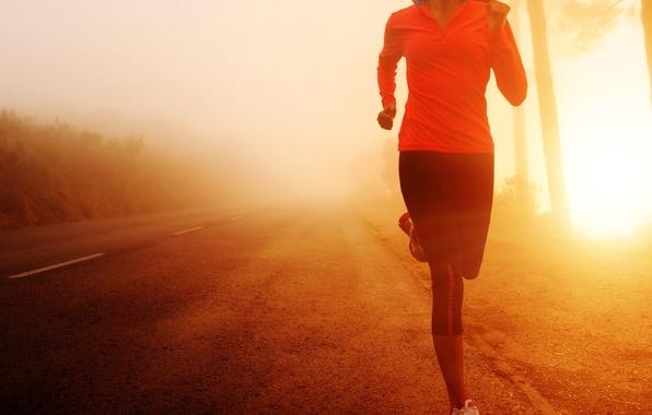 Картинка дорога, девушка, солнце, фон, движение, widescreen, обои, спорт, утро, бег, wallpaper, широкоформатные, background, полноэкранные, HD …