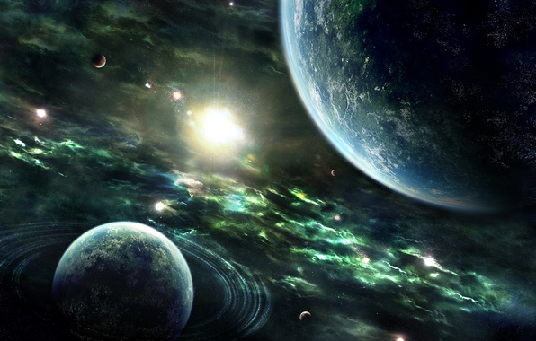 Картинка Звезды, Земля, Планеты, Planets, Nebulae, Stars, Space, Earth, Rings, Sun